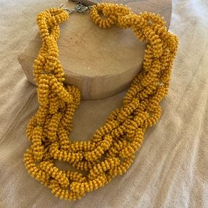 Yellow beaded chain necklace